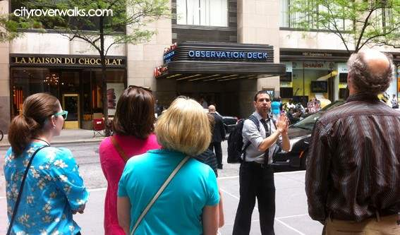 Rodney at Rockefeller Center during Landmark Explorer tour